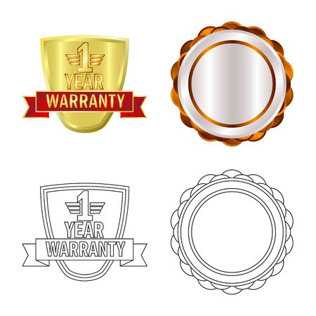Vector design of emblem and badge logo. Collection of emblem and sticker stock symbol for web. Stock Illustratie