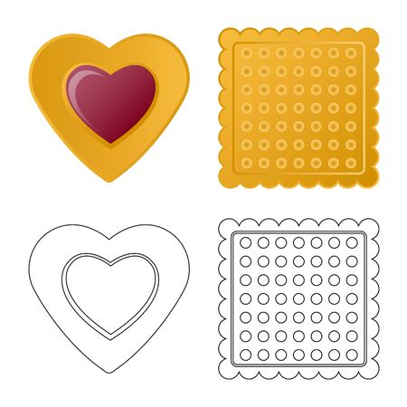 Vector design of biscuit and bake icon. Collection of biscuit and chocolate stock vector illustration. Ilustração