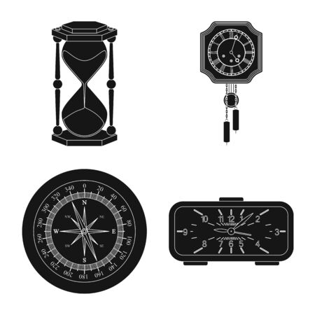 Isolated object of clock and time icon. Collection of clock and circle stock vector illustration. Illustration