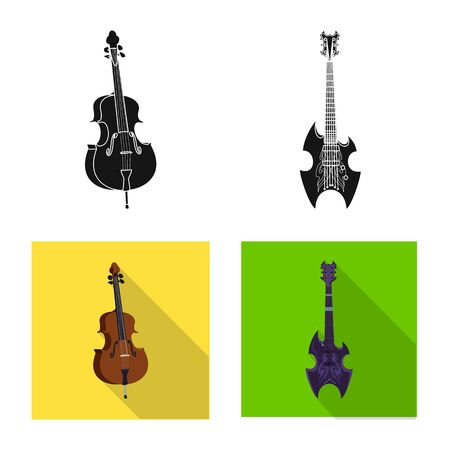 Vector illustration of music and tune sign. Set of music and tool stock vector illustration.  イラスト・ベクター素材