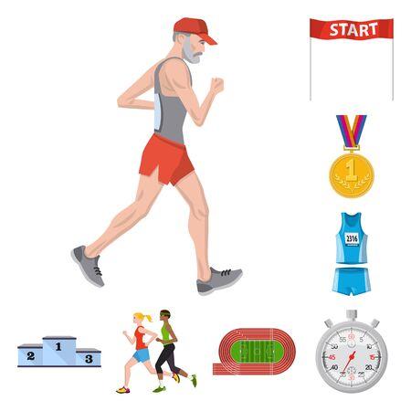 Vector illustration of step and sprint symbol. Collection of step and sprinter  stock symbol for web. 向量圖像