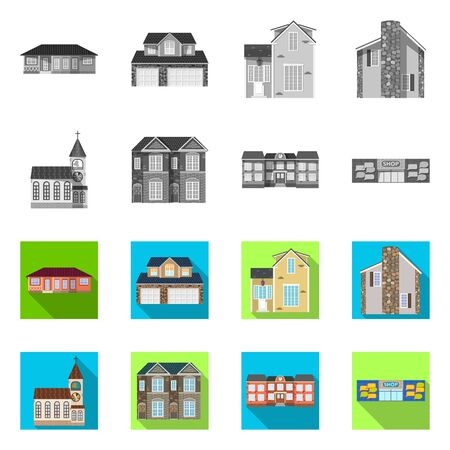 Vector illustration of building and front icon. Set of building and roof stock vector illustration.