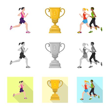 Isolated object of sport  and winner icon. Collection of sport  and fitness  stock vector illustration.