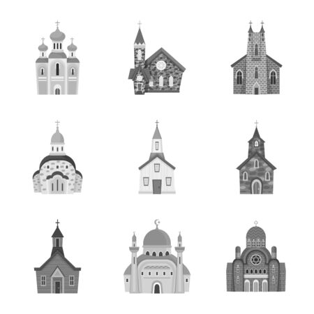 Isolated object of architecture and faith icon. Set of architecture and traditional stock vector illustration.