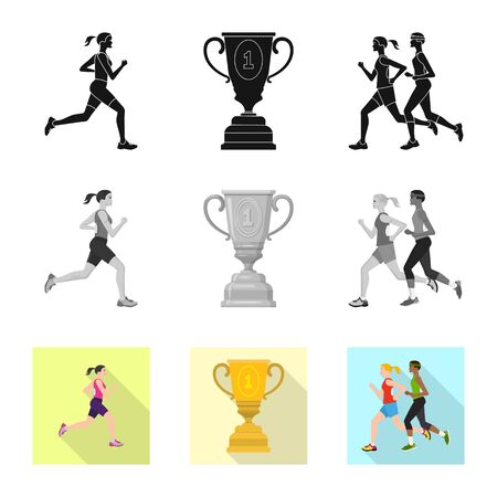 Isolated object of sport  and winner logo. Set of sport  and fitness  stock vector illustration.