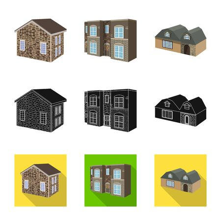 Vector design of facade and housing icon. Collection of facade and infrastructure stock vector illustration.