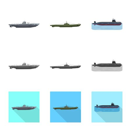 Isolated object of war  and ship sign. Set of war  and fleet stock symbol for web.