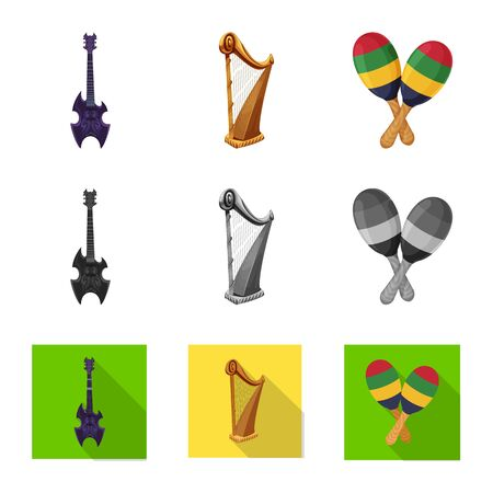 Isolated object of music and tune logo. Collection of music and tool vector icon for stock. Imagens - 124653544