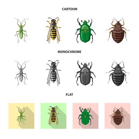Vector illustration of insect and fly sign. Collection of insect and element stock vector illustration. Çizim