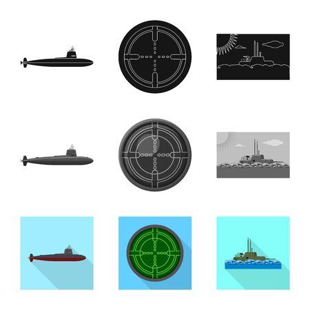 Vector illustration of war  and ship sign. Set of war  and fleet stock vector illustration. Ilustrace