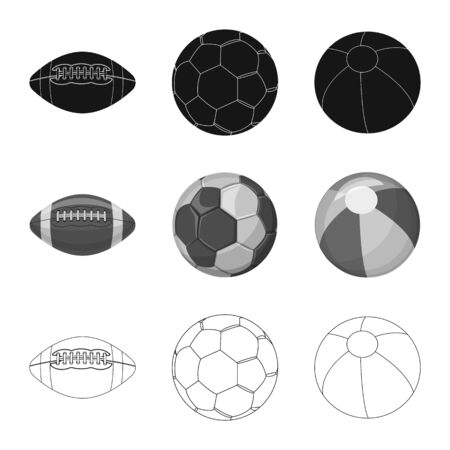 Vector illustration of sport and ball logo. Set of sport and athletic stock symbol for web. Иллюстрация