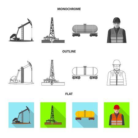 Vector illustration of oil and gas symbol. Collection of oil and petrol stock vector illustration. Illustration