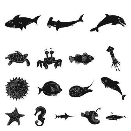 Vector illustration of sea and animal sign. Set of sea and marine vector icon for stock.