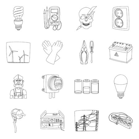 Vector illustration of electricity and electric symbol. Set of electricity and energy stock symbol for web. Vector Illustration