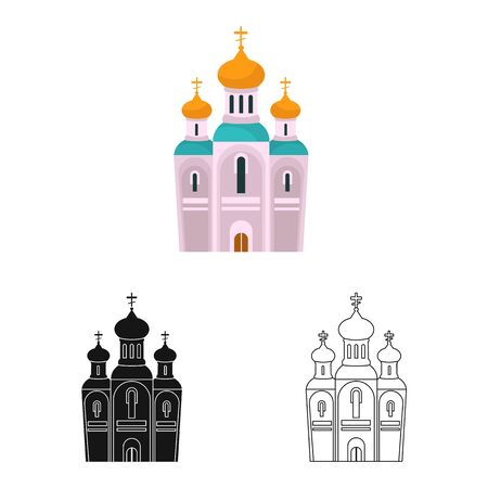 Vector illustration of church and orthodox symbol. Set of church and christmas stock symbol for web.