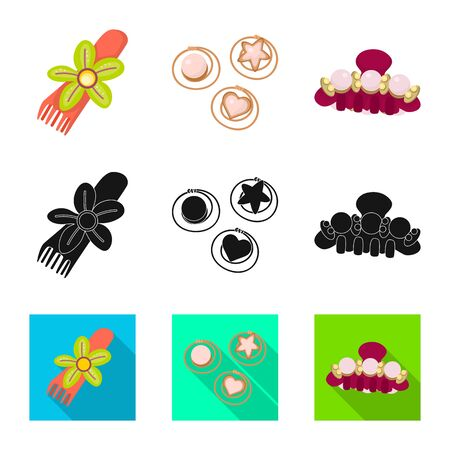 Isolated object of beauty and fashion symbol. Collection of beauty and female stock vector illustration. Illustration