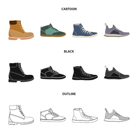 Vector illustration of shoe and footwear symbol. Collection of shoe and foot stock symbol for web.