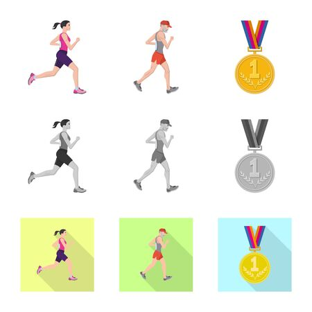 Isolated object of sport  and winner icon. Collection of sport  and fitness  stock vector illustration. Фото со стока - 124771677