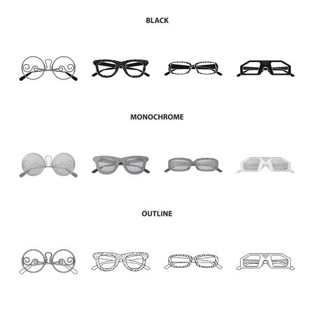 Vector illustration of glasses and sunglasses icon. Collection of glasses and accessory stock symbol for web.