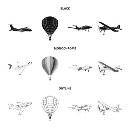 Vector illustration of plane and transport symbol. Collection of plane and sky vector icon for stock. Stock Illustratie