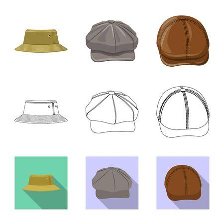 Vector illustration of headgear and cap symbol. Set of headgear and accessory stock vector illustration. Ilustração