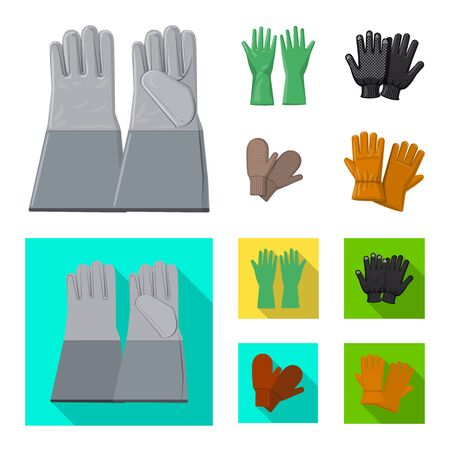 Isolated object of glove and winter sign. Set of glove and equipment stock symbol for web. 向量圖像