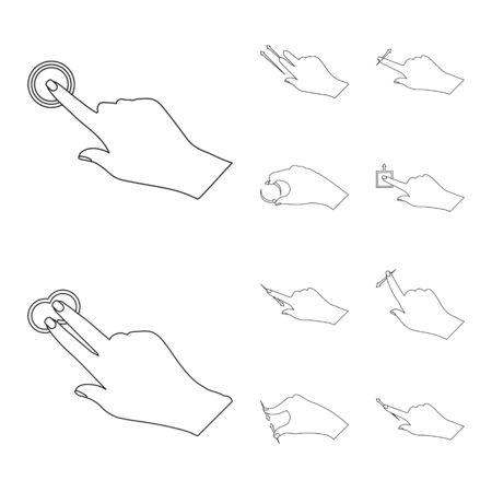 Vector design of touchscreen and hand symbol. Collection of touchscreen and touch stock symbol for web. Ilustração
