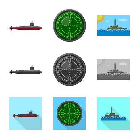 Vector illustration of war  and ship logo. Collection of war  and fleet vector icon for stock.