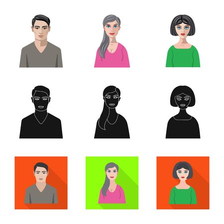 Isolated object of hairstyle and profession  icon. Collection of hairstyle and character  vector icon for stock.