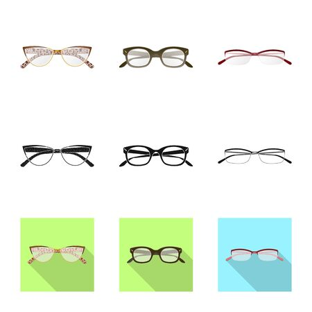 Vector design of glasses and frame logo. Collection of glasses and accessory stock symbol for web.
