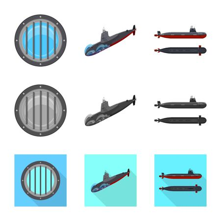 Vector illustration of war  and ship logo. Set of war  and fleet stock vector illustration.