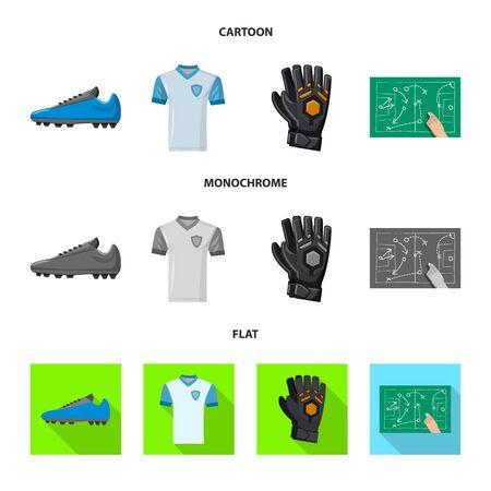 Vector illustration of soccer and gear symbol. Collection of soccer and tournament vector icon for stock. Иллюстрация