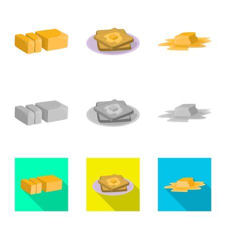 Oggetto isolato di cremoso e segno di prodotto. Set di icone vettoriali cremose e farm per stock.