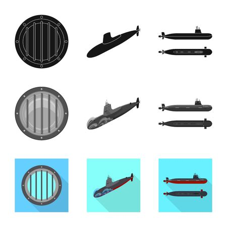 Vector illustration of war  and ship sign. Collection of war  and fleet stock vector illustration. Ilustrace