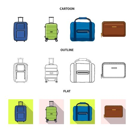 Vector illustration of suitcase and baggage sign. Set of suitcase and journey vector icon for stock.