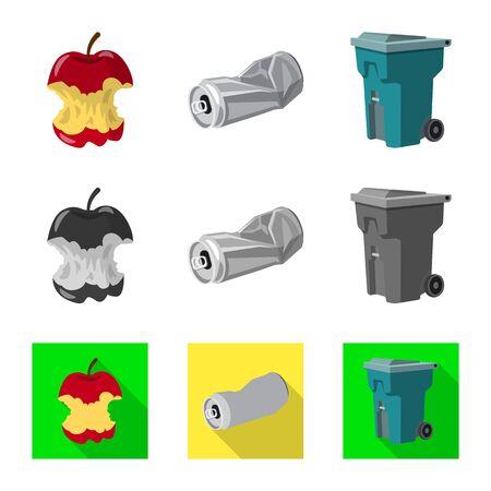 Vector illustration of dump and sort sign. Collection of dump and junk vector icon for stock.