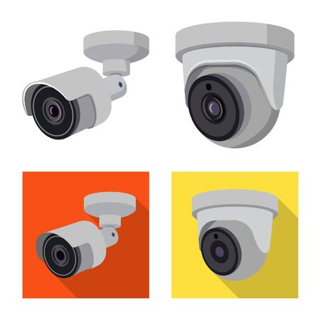Vector design of cctv and camera symbol. Collection of cctv and system stock symbol for web.