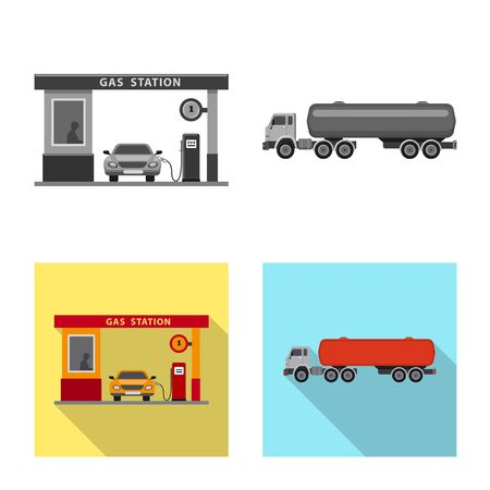 Vector design of oil and gas logo. Set of oil and petrol vector icon for stock. Illustration