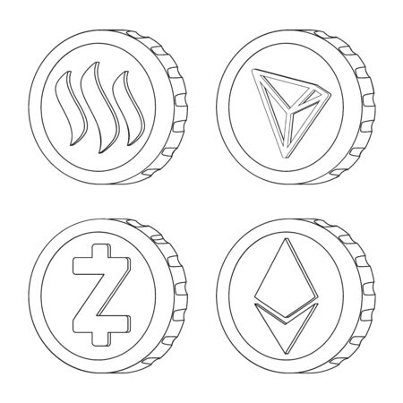Vector illustration of cryptocurrency and coin icon. Collection of cryptocurrency and crypto stock symbol for web.