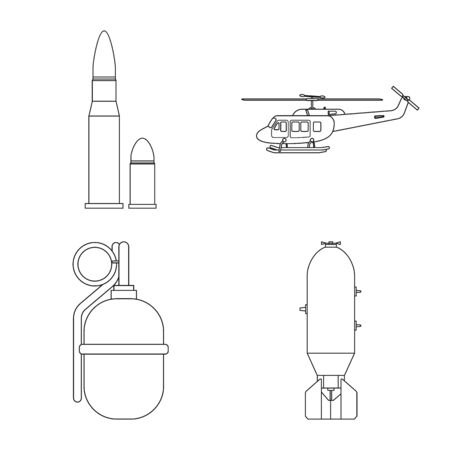 Vector illustration of weapon and gun icon. Collection of weapon and army stock symbol for web.  イラスト・ベクター素材