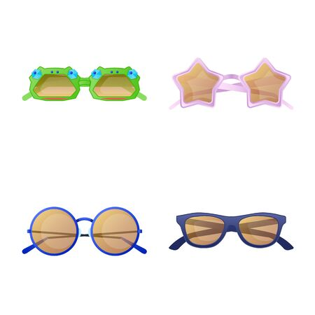 Vector illustration of glasses and sunglasses icon. Set of glasses and accessory stock symbol for web. Иллюстрация