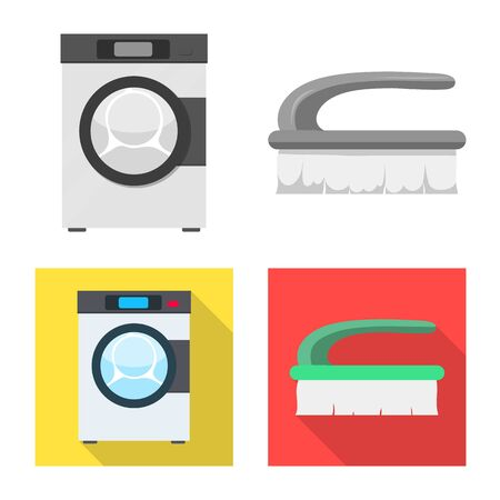 Vector design of laundry and clean icon. Collection of laundry and clothes stock symbol for web. Иллюстрация