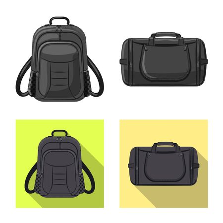 Vector design of suitcase and baggage symbol. Set of suitcase and journey stock symbol for web.