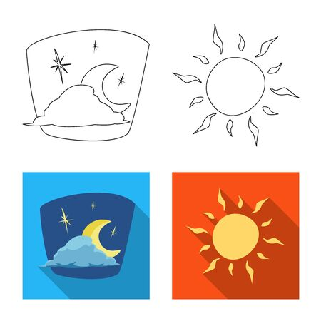 Vector illustration of weather and climate logo. Collection of weather and cloud stock vector illustration. Illustration