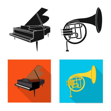 Vector design of music and tune symbol. Collection of music and tool vector icon for stock. Stock Vector - 124890808