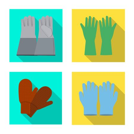Vector design of glove and winter symbol. Set of glove and equipment vector icon for stock. Vettoriali