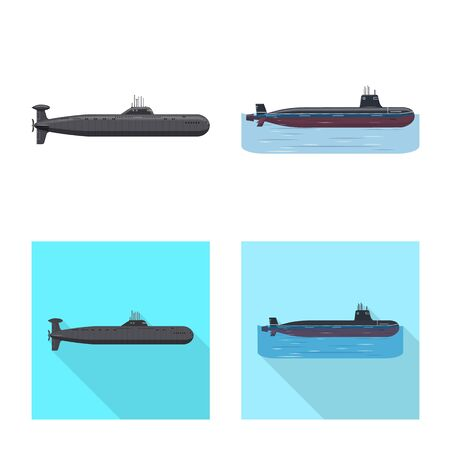 Isolated object of war  and ship icon. Set of war  and fleet stock symbol for web. Illustration