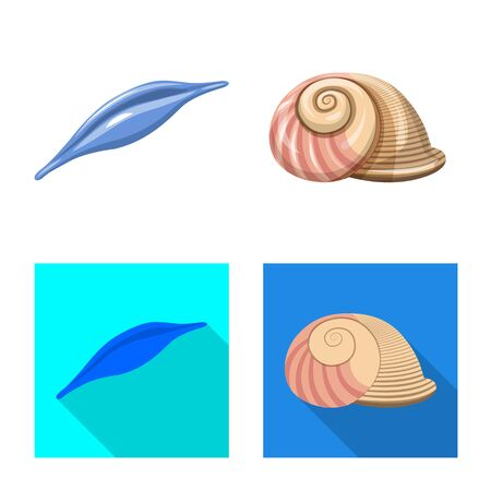Objeto aislado del logotipo de animales y decoración. Colección de símbolo de stock de animales y océanos para web.