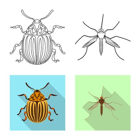 Isolated object of insect and fly sign. Collection of insect and element vector icon for stock. Stock Illustratie