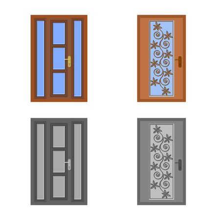 Vector illustration of door and front logo. Set of door and wooden vector icon for stock.